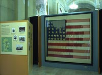 The national color carried by the 44th Regiment on display at the New York State Capitol, 2003.