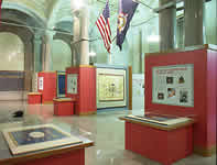 A northeastern view of the exhibit from within the gallery