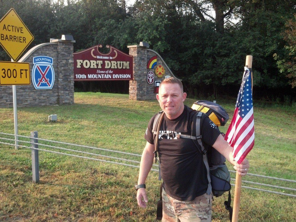 The long road to remember: Soldier's 9/11 charity walk gives veterans a leg up