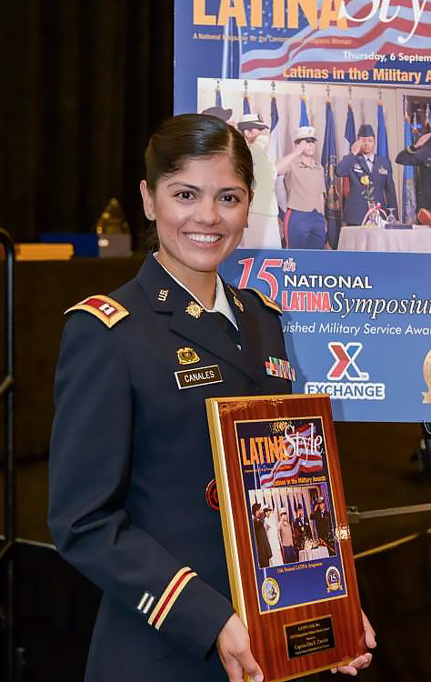 CPT Elsa Canales receiving Distinguished Service Award