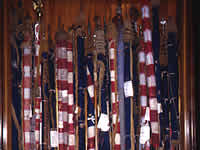 1997 view of crowded display case storing New York Battle Flags