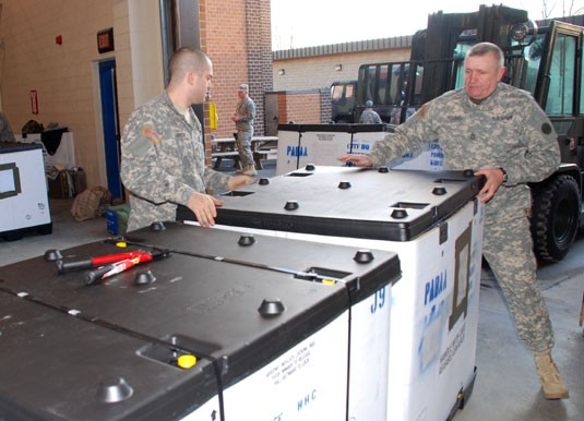 27th BCT headquarters packs for Afganistan Deployment, Jan 17, 2008