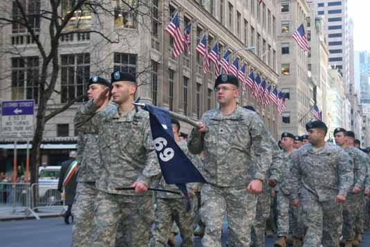 Soldier from the 69th Infantry march in NYC on March 17, 2008