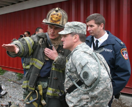 National Guard members coordinate casualty search and rescue training with the FDNY