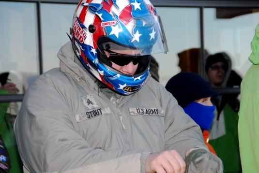 Sgt.  Kenneth Stout prepares for a bobsled race during the 2009 Geoff Bodine Bobsled Challenge.