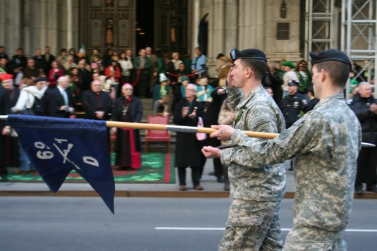 Soldiers from the New York Army National Guard's 1st Battalion, 69th Infantry march in the NYC Saint Patrick's Day