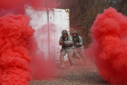 Army National Guard Soldiers conduct combat training for urban terrain
