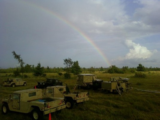A rainbow across the sky at Fort Drum's live-fire range August 22