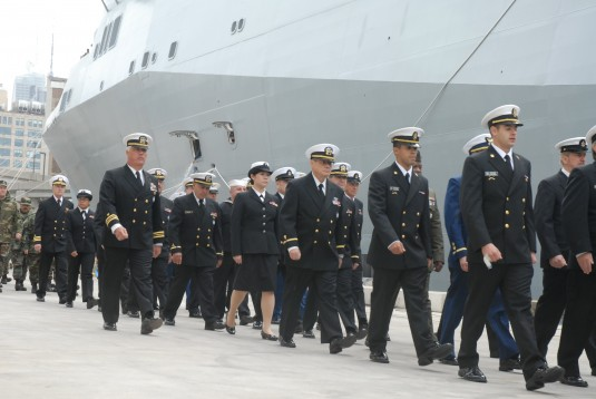 Naval Militia Members Salute USS New York