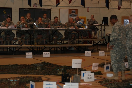 Soldiers rehearse their battle plans at the Troy Armory