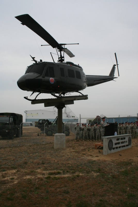 Members of the 3-142nd Aviation Battalion dedicate a UH-1H Helicopter in Ronkonkoma