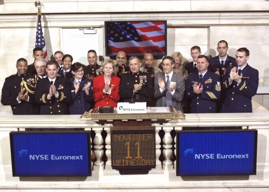 New York Army National Guard members join a military service element for teh rining of the opening bell at the NYSE Nov. 11.