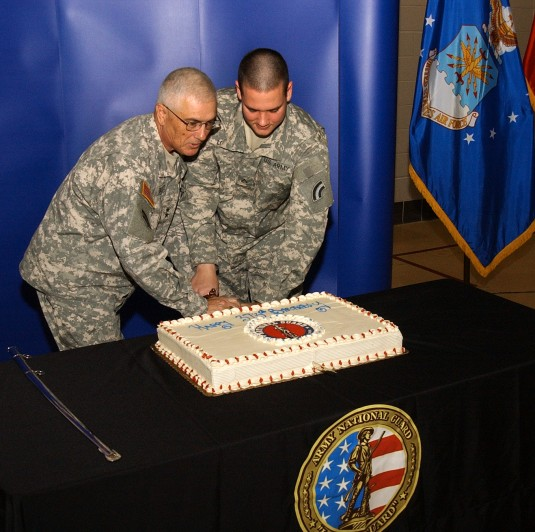 Cutting the Guard Birthday Cake