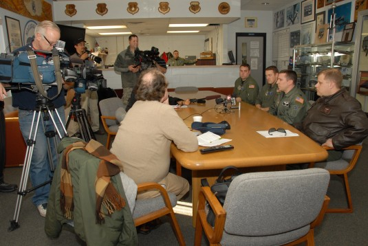 New York Air National Guard Airmen and Air Force Reserve Airmen meet with area media after returning from Haiti missions