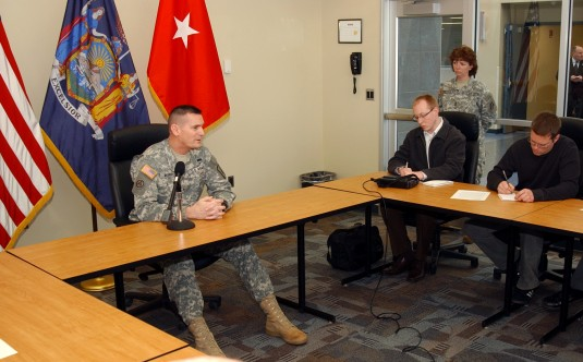 Brig. Gen. Patrick Murphy speaking with reporters in August 2009.