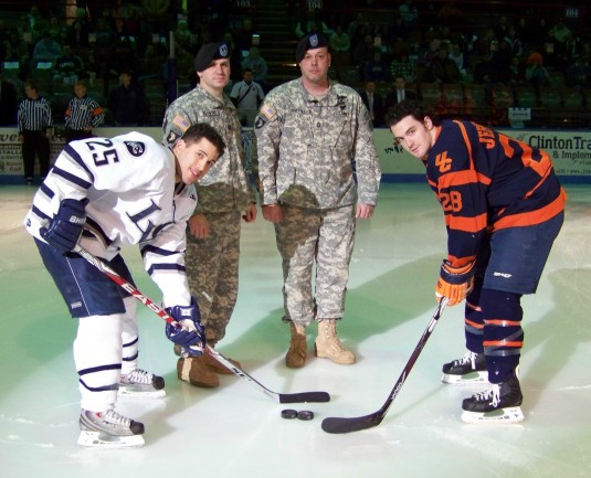 Leaders of HHC 2-108th Infantry With Opposing Hockey Team Captains