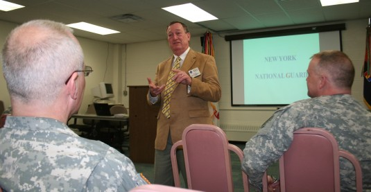 NGAUS President retired Maj. Gen. Gus Hargett, Jr. speaks with NY Army National Guard members in Troy