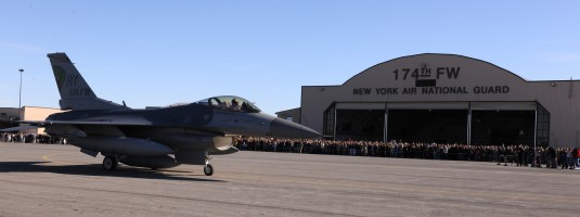 F-16 passes 174th Fighter Wing Hanger