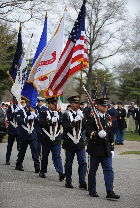 106th Rescue Wing Color Guard appears at Pinelawn Memorial Park in Copiague, N.Y. March 25 for the National Medal of Honor Day ceremony.