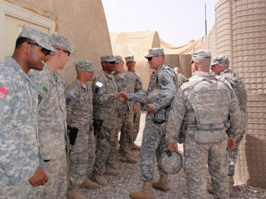Brig. Gen. Patrick Murphy meeting with Guard Troops in Iraq