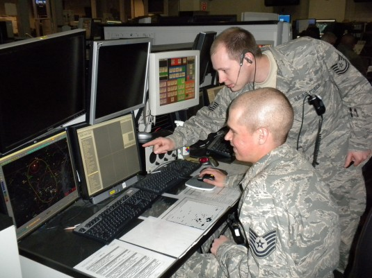 Air Force Officer watching radar screen