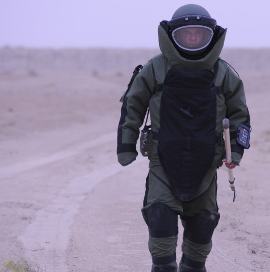 Soldier in bomb suit