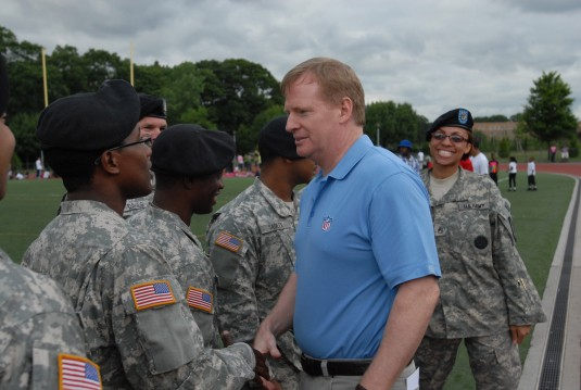 NFL Commissioner Roger Goodall meets thanks members of the New York Army National Guard