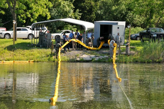 Airmen Practice Spill Containment