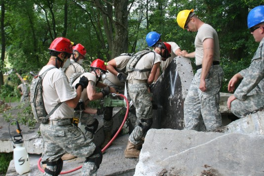 NY National Guard engineers practice search and rescue techniques during preparations for CERFP validation