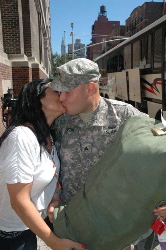 Soldier embracing his fiance