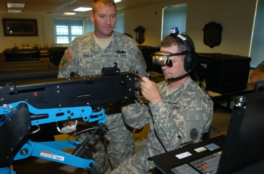 Soldier training with machine gun simulator