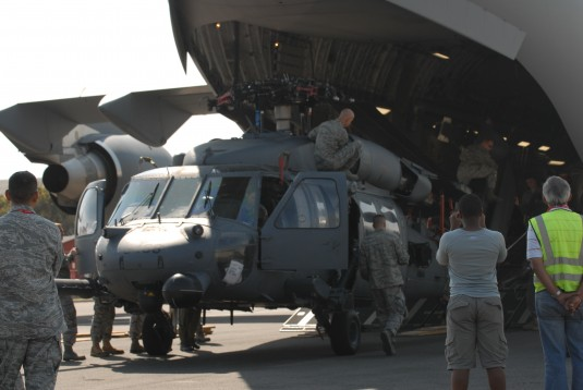 Pavehawk being unloaded from C-17