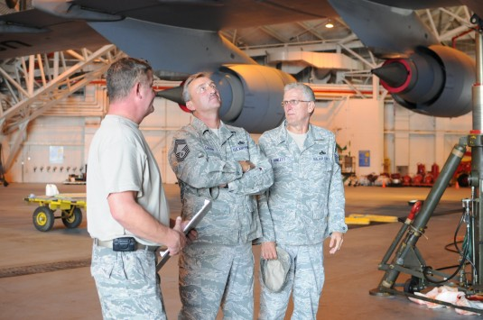 Air Force Reserve NCO's inspecting a C-5M being rennovated at Stewart ANGB.