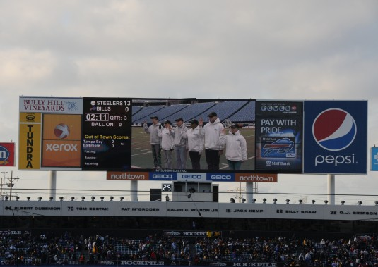 New York Air National Guard Recruits sworn in on Jumbotron at Ralph Wilson Field.