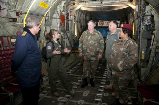 South African Officers inside an New York Air National Guard LC-130