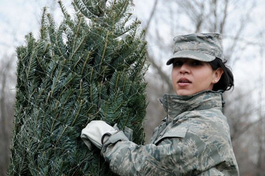 New York Air National Guard 1st Sgt. Jasmin Roman of the 105th Logistics Readiness Squadron grabs a tree for the Troops at Farmside Acres tree farm Dec. 3.