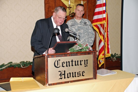 Allan Attwell, President of the Capital District Chapter of the Battle of the Bulge Veterans thanks Major General Patrick Murphy, the Adjutant General, for speaking to his group on Thursday, Dec. 16,