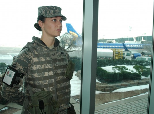 Airman standing  watch at JFK Airport