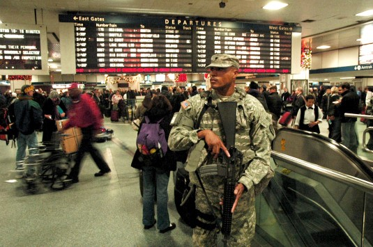 Soldier on Duty in Penn Station