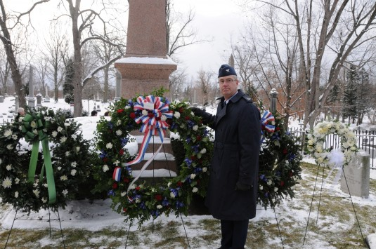 Col Jim McCready, 107th Airlift Wing at the gravesite of President Millard Fillmore