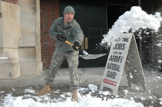 Troops Clear Snow after City's Second Winter Storm