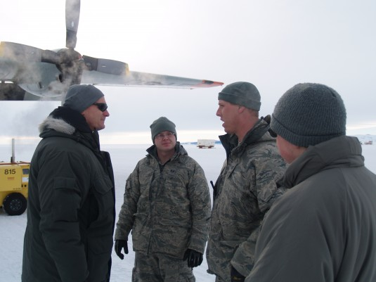 Major General Patrick Murphy meets with Airmen in Antarctica