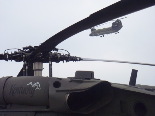 New York CH-47 framed in the rotor blades of a Kentucky UH -60.