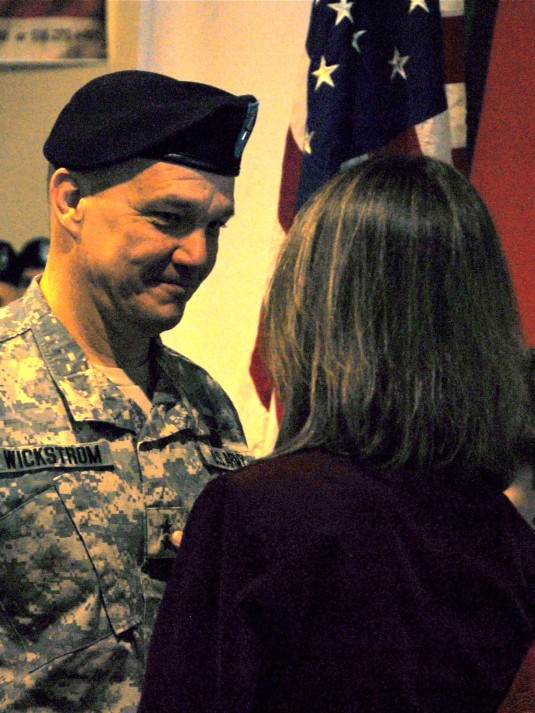 Maj. Gen. Steven Wickstrom receives his second star during a promotion ceremony in Troy, N.Y. Feb. 12.