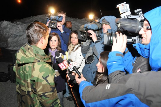 Airman talks with Capital Region reporters