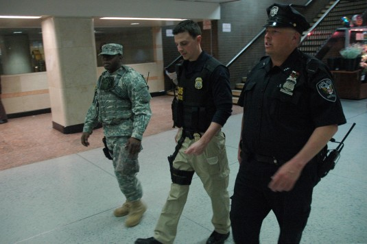 New York Army National Guard Staff Sgt. Kehinde Ayeni, a member of the New York City based Joint Task Force Empire Shield patrols common areas at Penn Station
