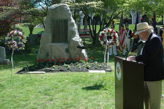 Sleepy Hollow Mayor Kenneth Wray gives remarks in remembrance of 32 members of the New York Guard who gave their lives in 1918