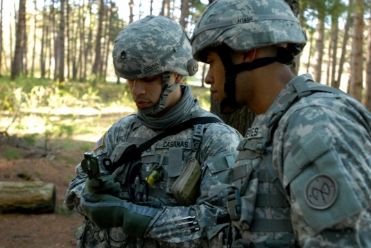 Two Soldiers on compass course.