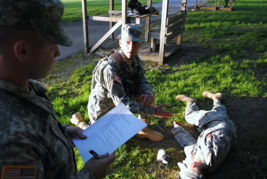 Soldier going through first aid Soldier task.