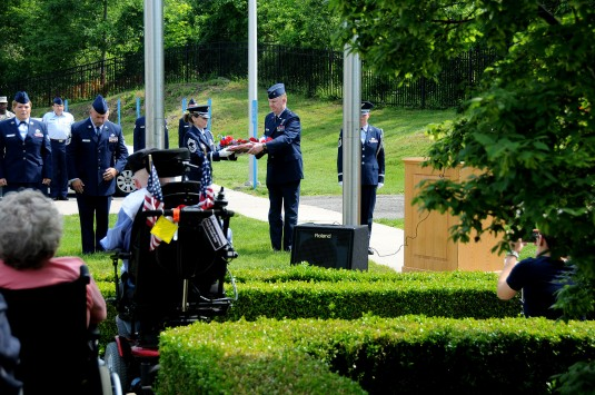 Air Force officers and NCOs at Memorial Day Ceremony
